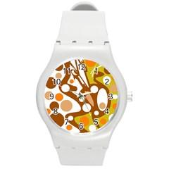 Orange And White Decor Round Plastic Sport Watch (m) by Valentinaart