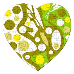 Green And Yellow Decor Jigsaw Puzzle (heart) by Valentinaart