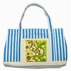 Green And Yellow Decor Striped Blue Tote Bag by Valentinaart