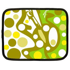 Green And Yellow Decor Netbook Case (xl)  by Valentinaart