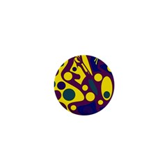 Deep Blue And Yellow Decor 1  Mini Buttons by Valentinaart