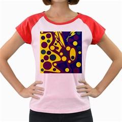 Deep Blue And Yellow Decor Women s Cap Sleeve T Shirt by Valentinaart