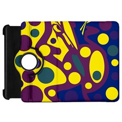 Deep blue and yellow decor Kindle Fire HD Flip 360 Case by Valentinaart
