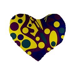 Deep Blue And Yellow Decor Standard 16  Premium Flano Heart Shape Cushions by Valentinaart