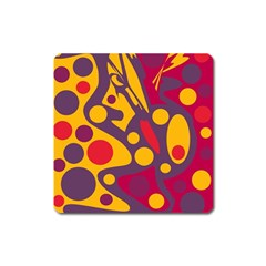 Colorful Chaos Square Magnet by Valentinaart
