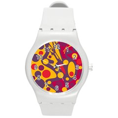 Colorful Chaos Round Plastic Sport Watch (m) by Valentinaart