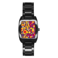 Colorful Chaos Stainless Steel Barrel Watch by Valentinaart