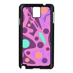 Purple And Green Decor Samsung Galaxy Note 3 N9005 Case (black) by Valentinaart