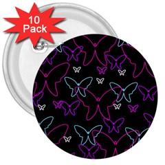 Purple Butterflies Pattern 3  Buttons (10 Pack)  by Valentinaart