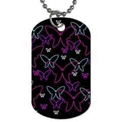 Purple Butterflies Pattern Dog Tag (two Sides) by Valentinaart