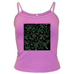 Green butterflies Dark Spaghetti Tank by Valentinaart