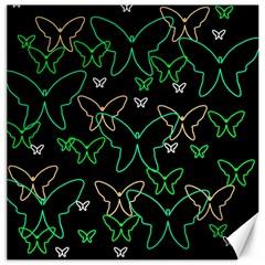 Green Butterflies Canvas 16  X 16   by Valentinaart