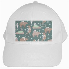 Bear Ruding Unicycle Unique Pop Art All Over Print White Cap by CraftyLittleNodes