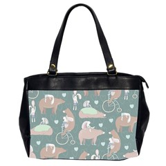 Bear Ruding Unicycle Unique Pop Art All Over Print Office Handbags (2 Sides)  by CraftyLittleNodes