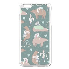 Bear Ruding Unicycle Unique Pop Art All Over Print Apple Iphone 6 Plus/6s Plus Enamel White Case by CraftyLittleNodes