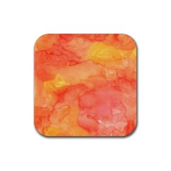 Watercolor Yellow Fall Autumn Real Paint Texture Artists Rubber Coaster (square)  by CraftyLittleNodes