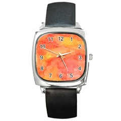 Watercolor Yellow Fall Autumn Real Paint Texture Artists Square Metal Watch by CraftyLittleNodes