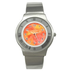 Watercolor Yellow Fall Autumn Real Paint Texture Artists Stainless Steel Watch by CraftyLittleNodes