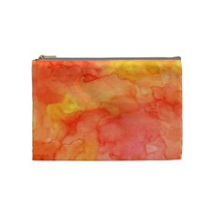 Watercolor Yellow Fall Autumn Real Paint Texture Artists Cosmetic Bag (medium)  by CraftyLittleNodes