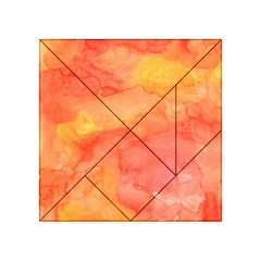 Watercolor Yellow Fall Autumn Real Paint Texture Artists Acrylic Tangram Puzzle (4  X 4 ) by CraftyLittleNodes