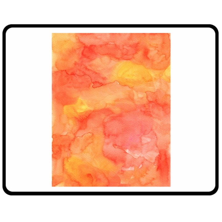 Watercolor Yellow Fall Autumn Real Paint Texture Artists Double Sided Fleece Blanket (Medium)