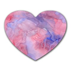 Galaxy Cotton Candy Pink And Blue Watercolor  Heart Mousepads by CraftyLittleNodes