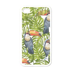 Tropical Print Leaves Birds Toucans Toucan Large Print Apple Iphone 4 Case (white) by CraftyLittleNodes