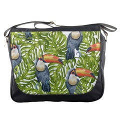 Tropical Print Leaves Birds Toucans Toucan Large Print Messenger Bags by CraftyLittleNodes