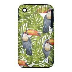 Tropical Print Leaves Birds Toucans Toucan Large Print Apple Iphone 3g/3gs Hardshell Case (pc+silicone) by CraftyLittleNodes