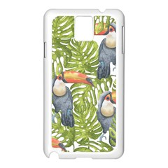 Tropical Print Leaves Birds Toucans Toucan Large Print Samsung Galaxy Note 3 N9005 Case (white) by CraftyLittleNodes