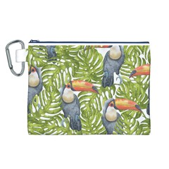 Tropical Print Leaves Birds Toucans Toucan Large Print Canvas Cosmetic Bag (L) by CraftyLittleNodes