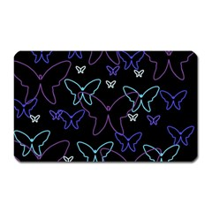 Blue Neon Butterflies Magnet (rectangular) by Valentinaart