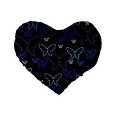 Blue Neon Butterflies Standard 16  Premium Flano Heart Shape Cushions by Valentinaart