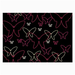 Pink Neon Butterflies Large Glasses Cloth (2 Side) by Valentinaart