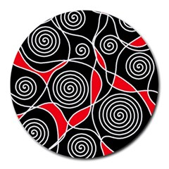 Hypnotic Design Round Mousepads by Valentinaart
