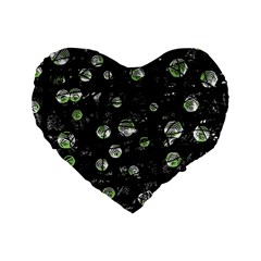 Green Soul  Standard 16  Premium Heart Shape Cushions by Valentinaart