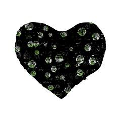 Green Soul  Standard 16  Premium Flano Heart Shape Cushions by Valentinaart