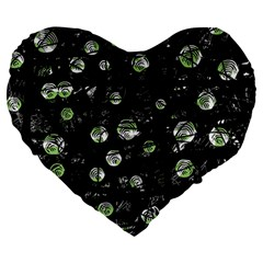 Green Soul  Large 19  Premium Flano Heart Shape Cushions by Valentinaart