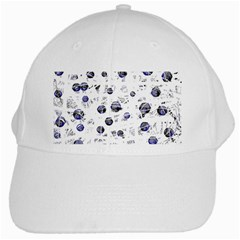 White And Deep Blue Soul White Cap by Valentinaart
