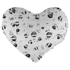 White And Gray Soul Large 19  Premium Flano Heart Shape Cushions by Valentinaart