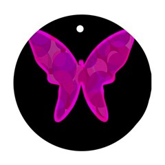 Purple Butterfly Ornament (round)  by Valentinaart