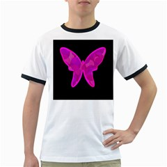 Purple Butterfly Ringer T Shirts by Valentinaart
