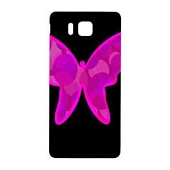 Purple Butterfly Samsung Galaxy Alpha Hardshell Back Case by Valentinaart