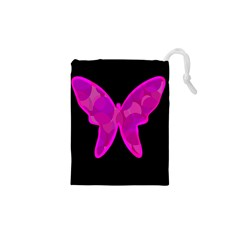 Purple Butterfly Drawstring Pouches (xs)  by Valentinaart