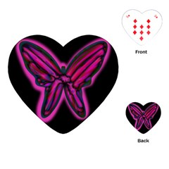 Purple Neon Butterfly Playing Cards (heart)  by Valentinaart