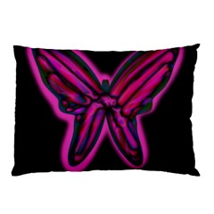 Purple Neon Butterfly Pillow Case (two Sides) by Valentinaart