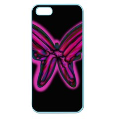 Purple Neon Butterfly Apple Seamless Iphone 5 Case (color) by Valentinaart
