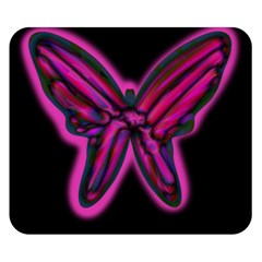 Purple Neon Butterfly Double Sided Flano Blanket (small)  by Valentinaart