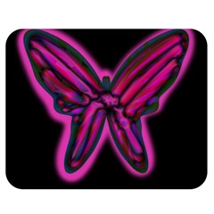 Purple Neon Butterfly Double Sided Flano Blanket (medium)  by Valentinaart