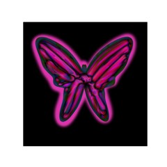 Purple Neon Butterfly Small Satin Scarf (square) by Valentinaart